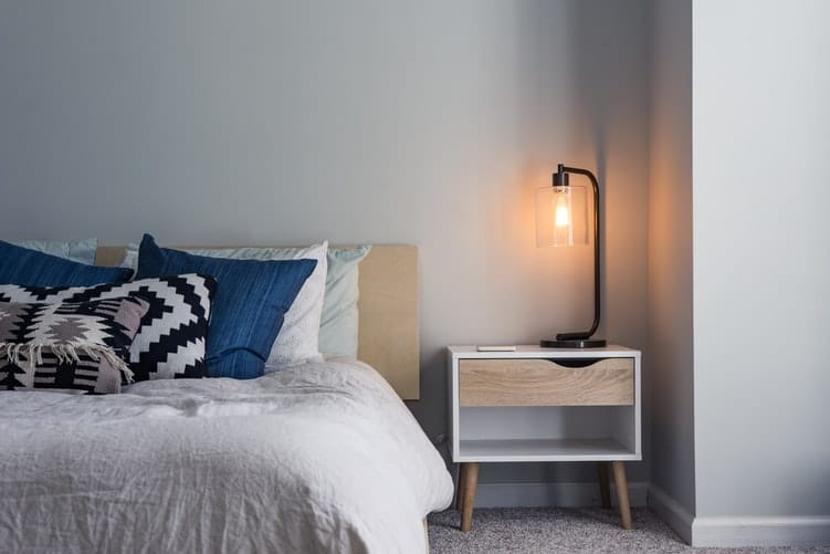 A bed and nightstand.
